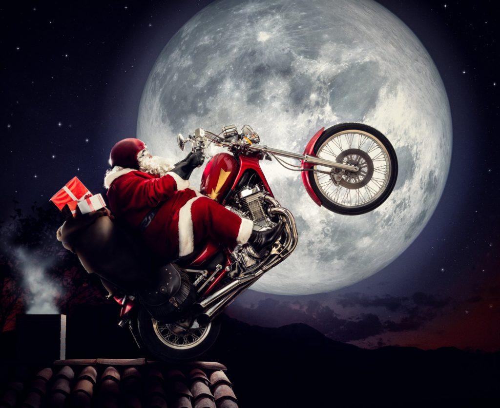 Дед мороз на мотоцикле мото ёлка